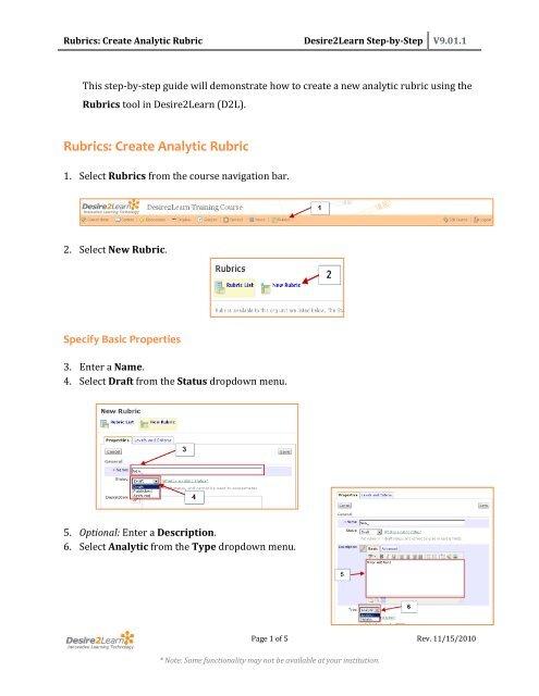 Rubrics: Create Analytic Rubric