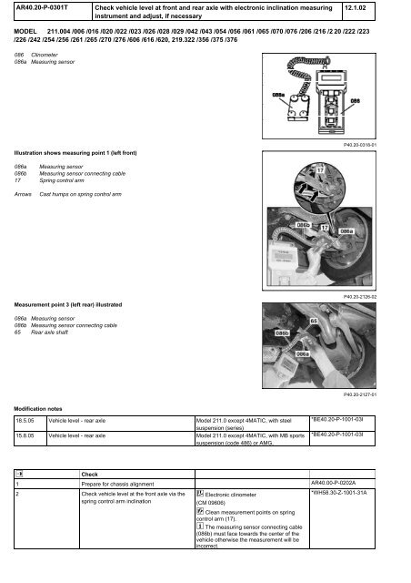 W211 Front & Rear Inclination Adjustment pdf