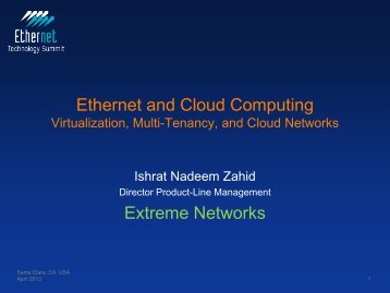 Virtualization, Multi-Tenancy, and Cloud Networks - Ethernet ...