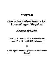 Program Efteruddannelseskursus for Speciallæger i Psykiatri ...