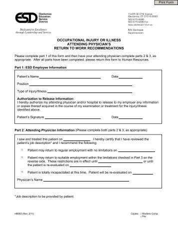 Pre-Designation Of Personal Physician Form