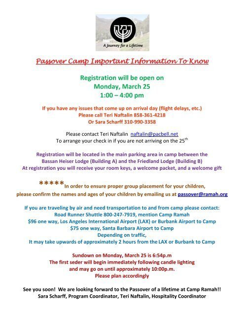 2013 welcome packet - Camp Ramah