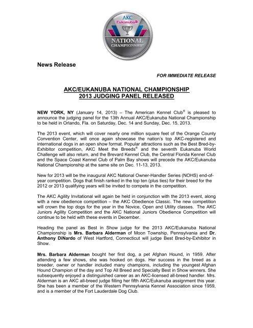 AKC/Eukanuba National Championship 2013 Judging Panel