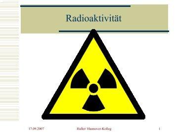 Radioaktivität - Abendgymnasium Hannover