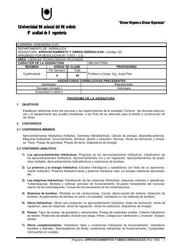 Aprovechamiento y Obras Hidráulicas - unne - Universidad ...