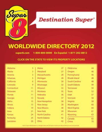 WORLDWIDE DIRECTORY 2012 - Super 8 Hotels