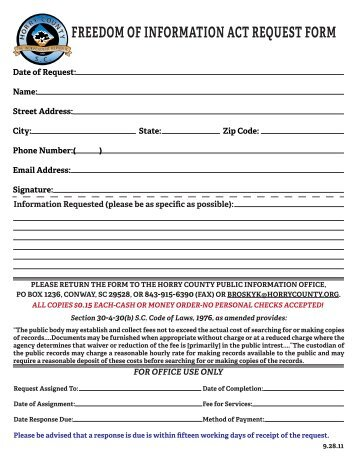 PDF Standard Request Form - Horry County Government