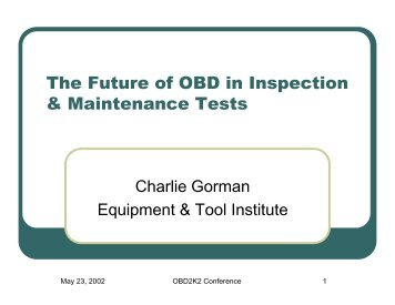 Equipment & Tool Institute - OBD Clearinghouse