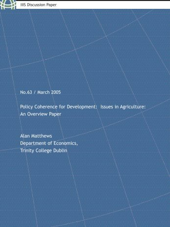 Policy Coherence for Development : Issues in Agriculture: - CiteSeerX