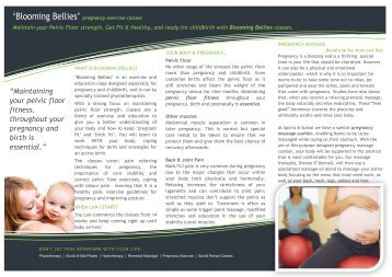 'Bloomin Bellies' brochure (PDF) - Sports & Spinal Physiotherapy ...