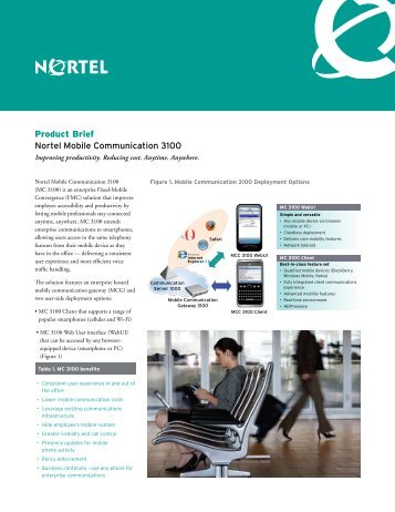 Product Brief Nortel Mobile Communication 3100 - Ash Telecom