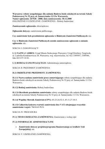 Ogłoszenie o udzieleniu zamówienia - Urząd dzielnicy Targówek