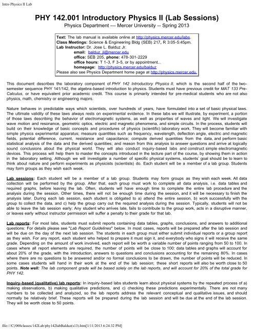 SYLLABUS addendum - the Mercer University Physics Homepage