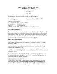 DEPARTMENT OF POLITICAL SCIENCE - COAS - Howard University