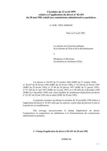 Circulaire du 23 avril 1999 relative à l'application du décret n° 82 ...