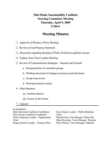 Meeting Minutes - City of Waterville