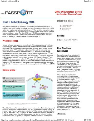 Issue 1: Pathophysiology of RA
