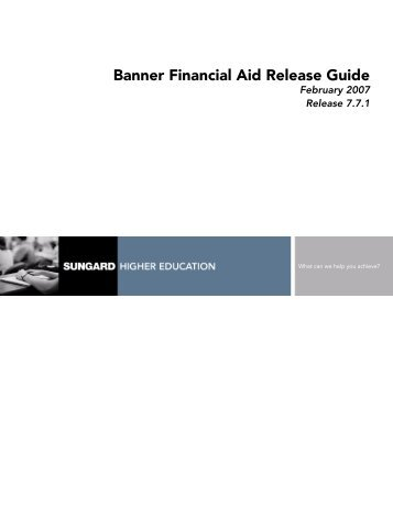 Banner Financial Aid / Release Guide / 7.7.1