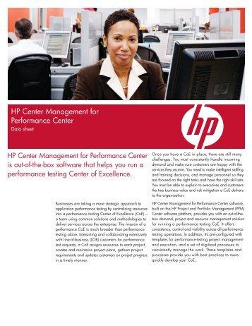 HP Center Management for Performance Center Data ... - Ticomsoft