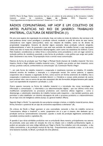 COSTA, Mauro - Rádios comunitárias, hip hop e um ... - Cultura Digital