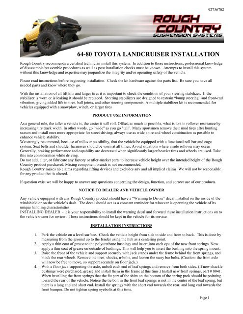 64-80 TOYOTA LANDCRUISER INSTALLATION - Rough Country