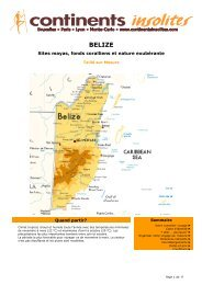 BELIZE - Continents Insolites