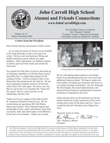 Winter 2005 Alumni Newsletter - John Carroll Catholic High School