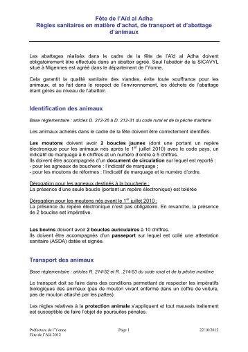 Fiche Aïd al Adha 2012 - 0,02 Mb - Préfecture de l'Yonne
