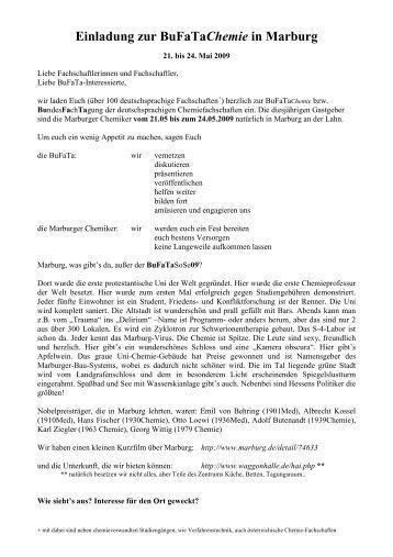 die Einladung der Marburger Chemiefachschaft ... - BuFaTa Chemie