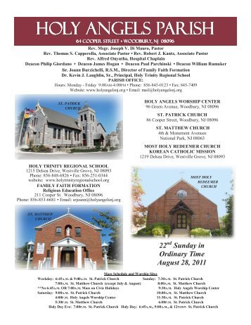 Sunday in Ordinary Time August 28, 2011 - Holy Angels Parish