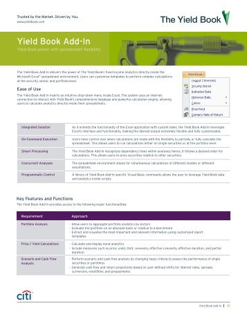 Yield Book Add-In - The Yield Book