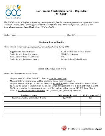Low Income Verification Form Dependent - Genesee Community ...