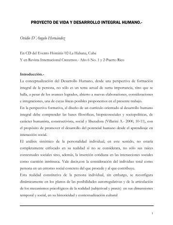 PROYECTO DE VIDA Y DESARROLLO INTEGRAL HUMANO ...