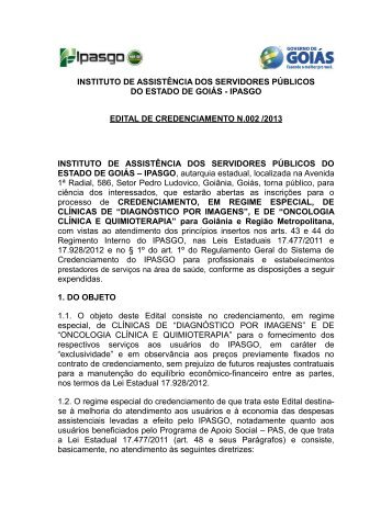 edital nº 002/2013 - Ipasgo