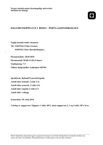 eksamensoppgave i bi2033 – populasjonsøkologi - Institutt for biologi