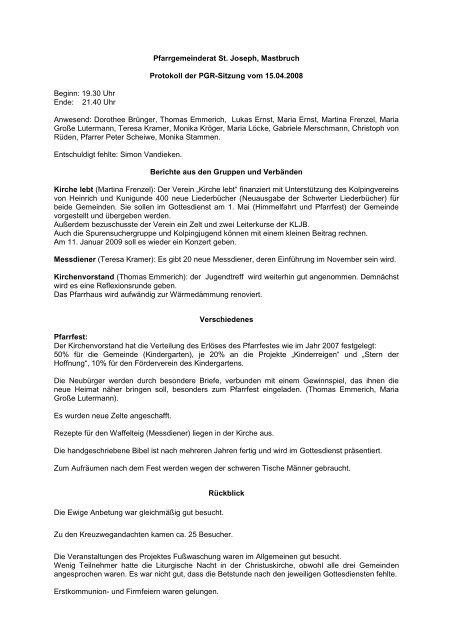 Pfarrgemeinderat St. Joseph, Mastbruch Protokoll der PGR-Sitzung ...