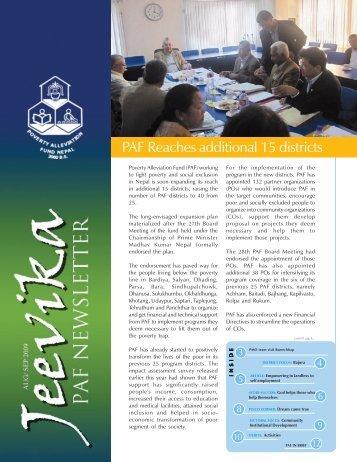 A Trimester Newsletter of PAF Vol 3, Number 8, AUG/SEP 2009