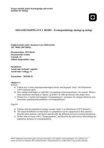 EKSAMENSOPPGAVE I BI1003 ... - Institutt for biologi