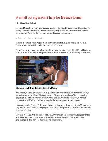A small but significant help for Birenda Damai - Poverty Alleviation ...