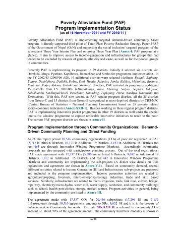 Program Implementation Status - Poverty Alleviation Fund, Nepal