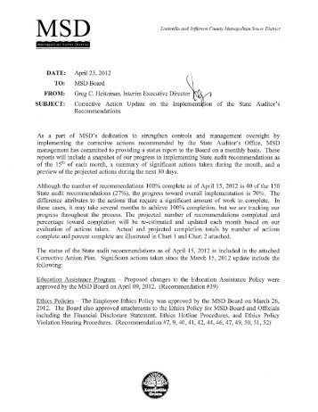 MSD's Corrective Action Update Dated 4/15/2012