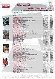Films en VO sélection DVD janvier 2008 - Attica