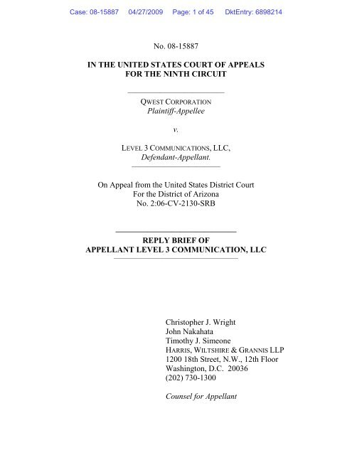 Ninth Circuit Reply Brief of Level 3 Communications, LLC, in