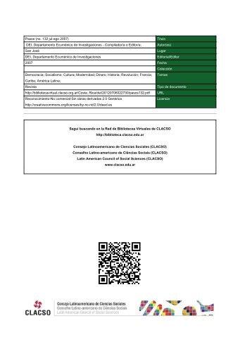 Pasos (no. 132 jul-ago 2007) - Red de Bibliotecas Virtuales - Clacso