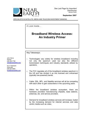 Broadband Wireless Access: An Industry Primer