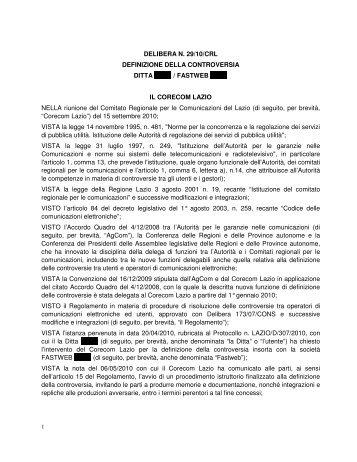DELIBERA N. 29/10/CRL DEFINIZIONE DELLA ... - Corecom