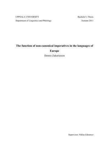 The function of non-canonical imperatives in the languages of Europe