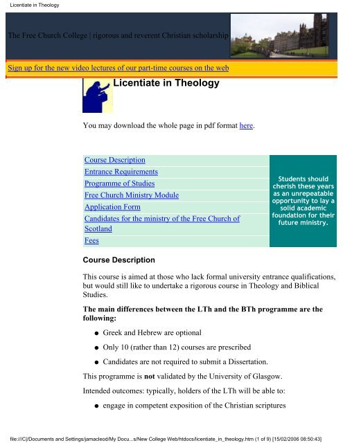 Licentiate in Theology - Free Church College