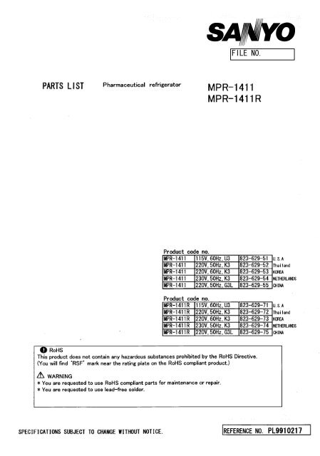 Part List MPR-1411(R) - Panasonic Biomedical