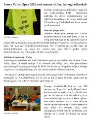 Yonex Valby Open 2012 med masser af fjer, fest og fællesskab ...